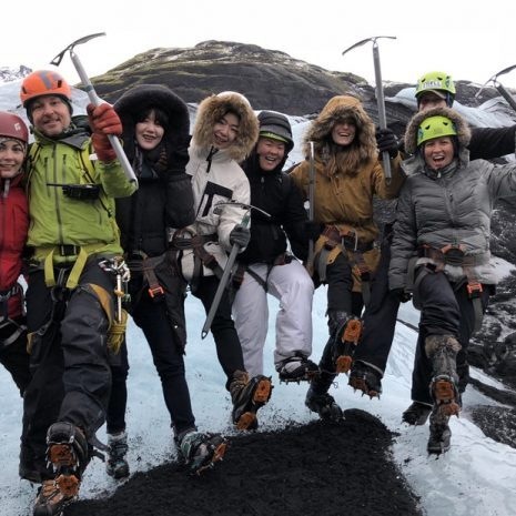 Group of people on a glacier hike tour on the solheimajokull glacier