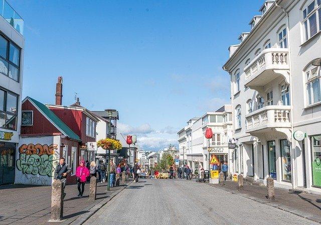 Laugavegur shopping street iceland