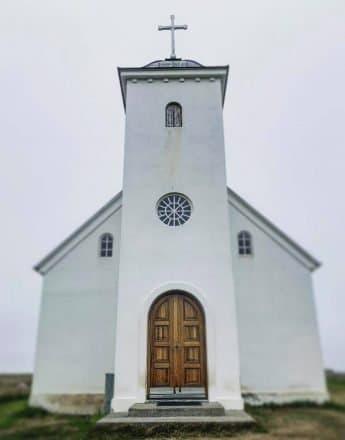 L'église blanche emblématique de Flatey Island.