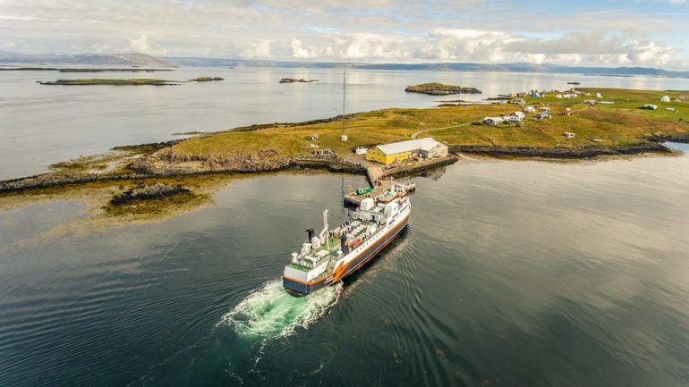 The Baldur ferry arriving to Flatey Island in Iceland
