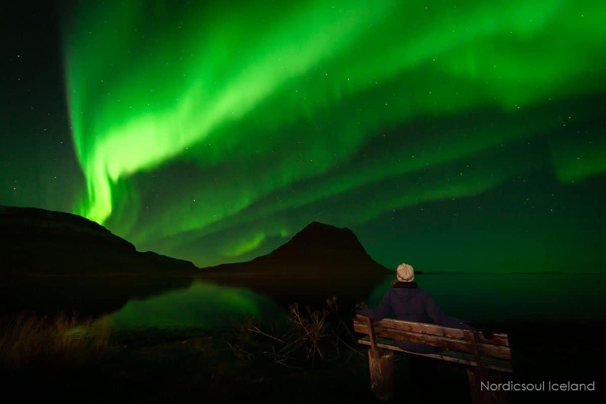 Northern lights over Kirkjufell