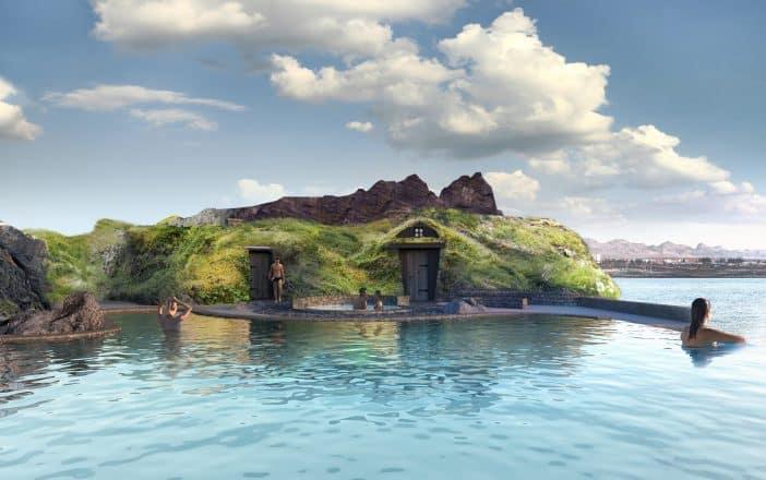 Turf houses at the Icelandic geothermal spa Sky Lagoon