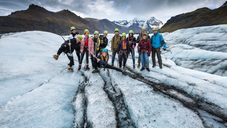 Group of people on a glacier