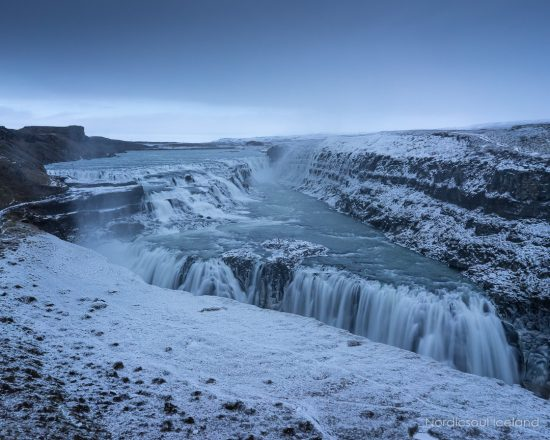 Gullfoss waterfall in the winter.