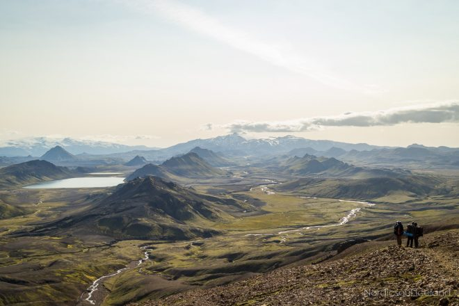 A view of Laugavegur hiking trail in the Icelandic Highlands.
