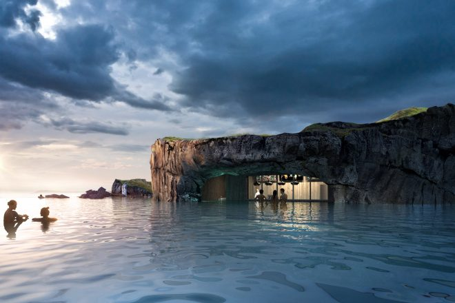 The new swim-up bar the Sky Lagoon in Iceland