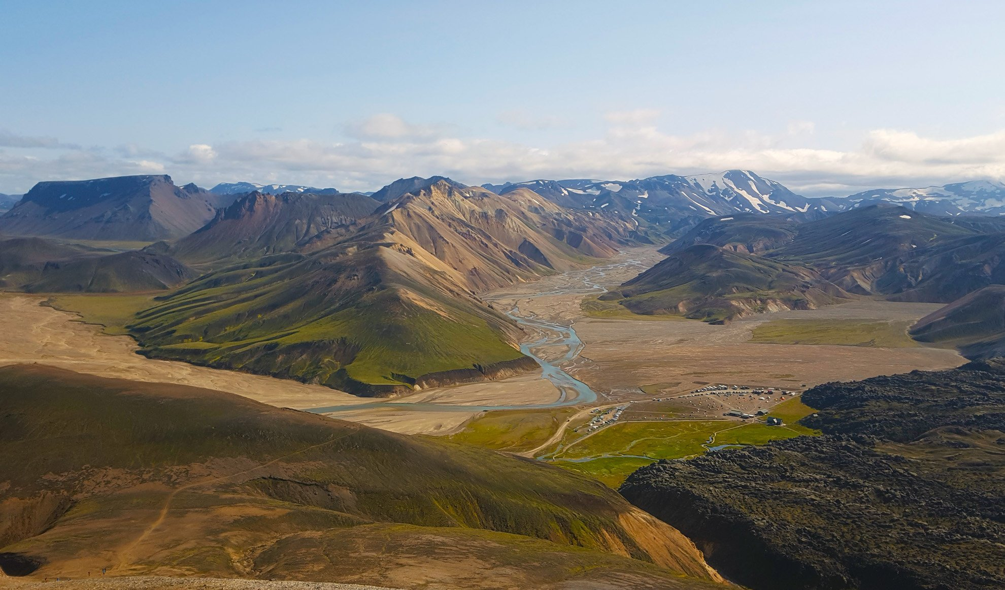 Landmannalaugar camping site viewed from above the mountain