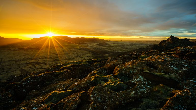 The Midnight Sun shining over the Icelandic countryside
