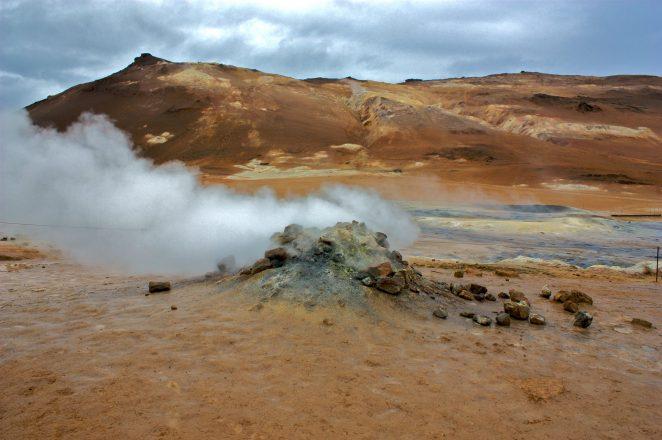A steaming fumarole at Námaskarð Pass in the Mývatn Region.