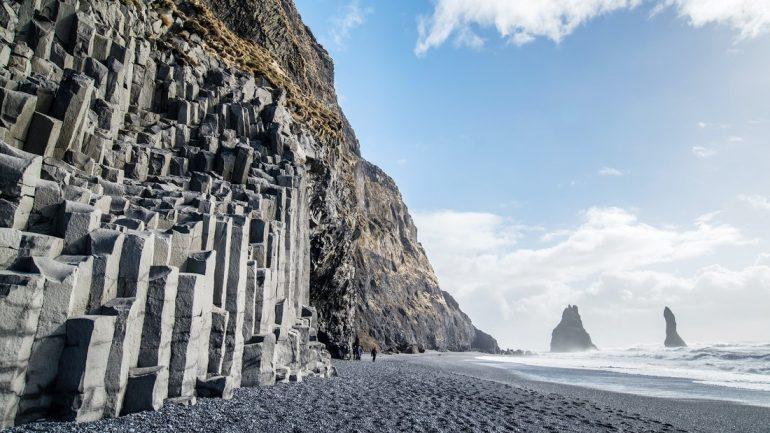 The black basalt columns of Reynisfjara beach in South Iceland