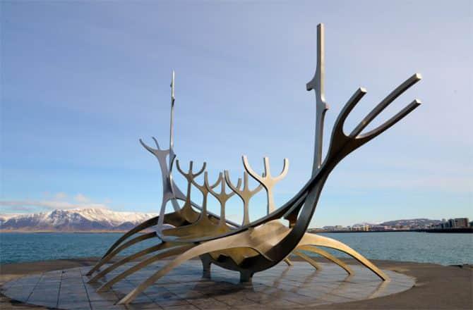 The Sun Voyager Sculpture in Reykjavik