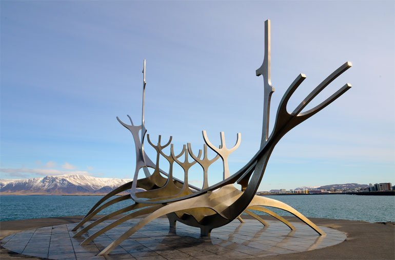 Sun Voyager Sculpture on the coastline of Reykjavik