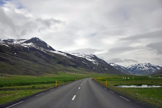 An empty road in North Iceland