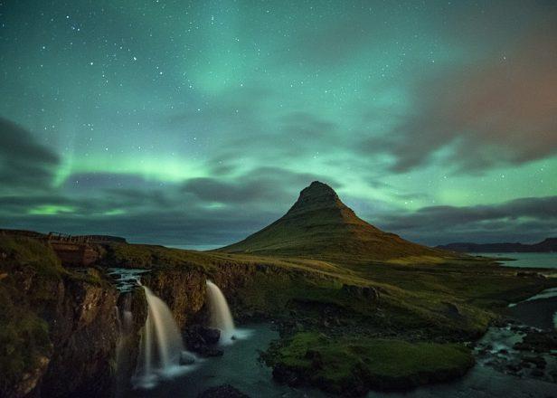 The Northern Lights over Kirkjufell mountain on the Snæfellsnes peninsula.