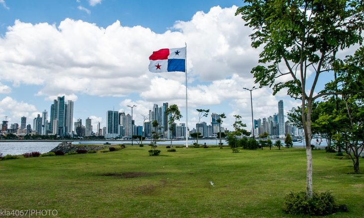 The Panama Flag in front of Panama City