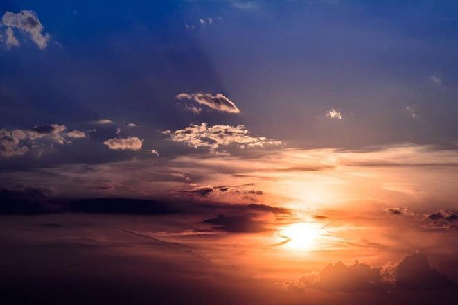 The Midnight Sun in the sky