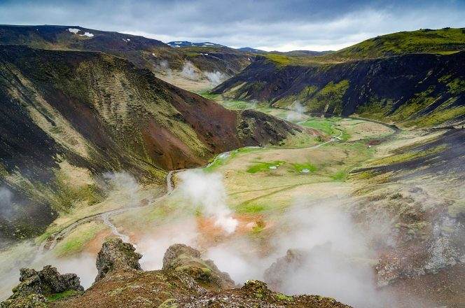 An overview shot of Reykjadalur Valley in South Iceland