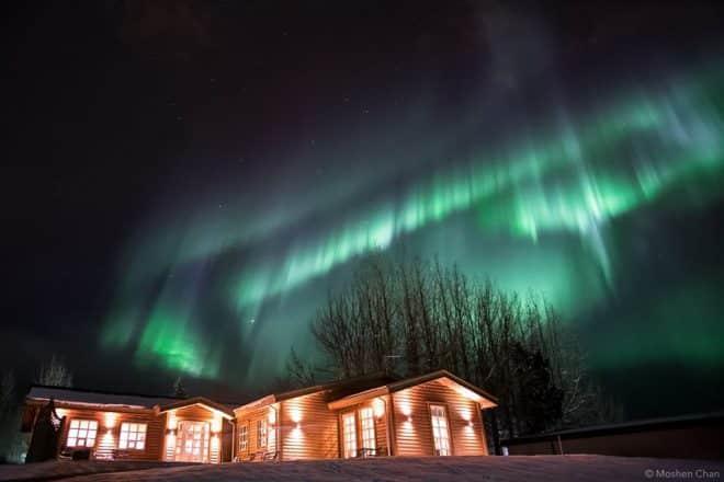 Northern Lights over Restaurant Flúðir