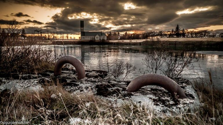 A photograph of Selfoss town