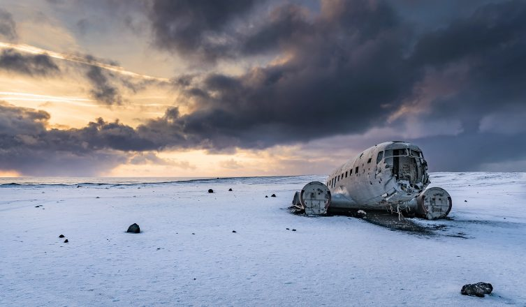 A landscape photo of the DC plane wreck