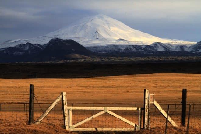 Hekla volcano dominates the landscape