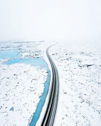 A road through Iceland's frozen landscape
