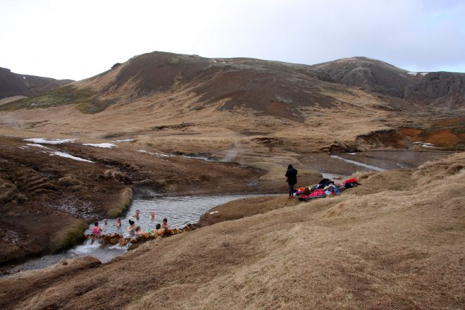 Guests at Reykjadalur Valley