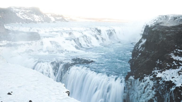 Gullfoss waterfall in winter