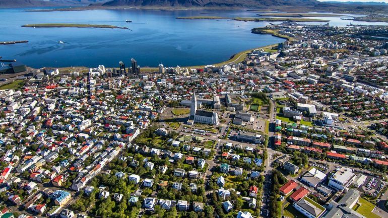 An aerial view over Iceland's capital city