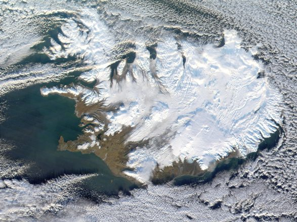 A satellite image of Iceland in winter