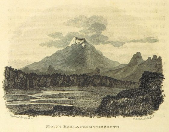An old drawing of Hekla volcano