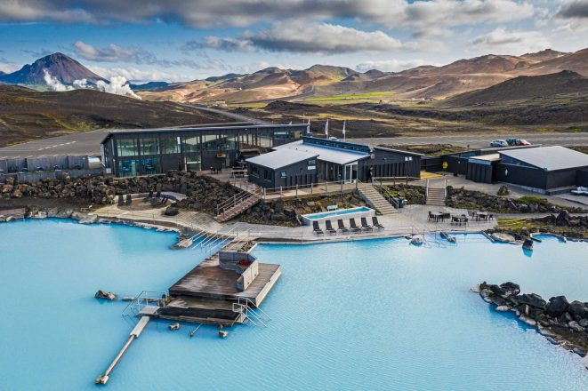 An aerial shot of Mývatn Nature Baths in North Iceland