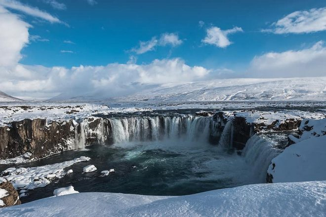 Goðafoss waterfall in the winter