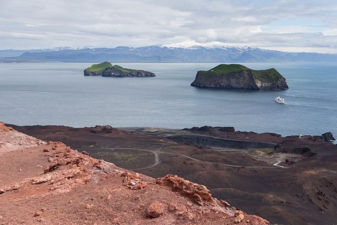 A shot overlooking the Westman Islands in Iceland