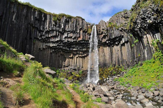 A shot of Svartifoss waterfall
