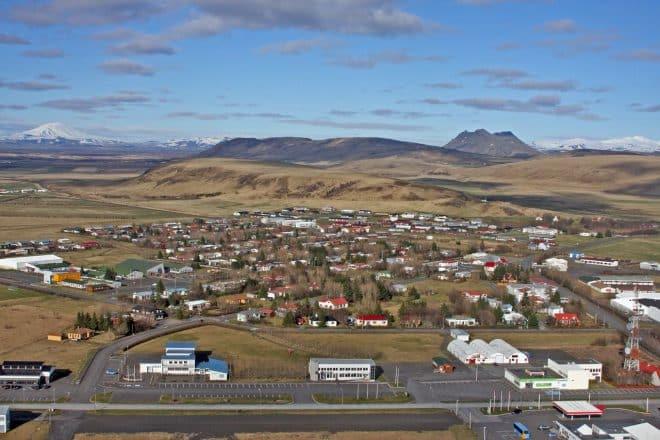 An aerial shot of Hvolsvöllur
