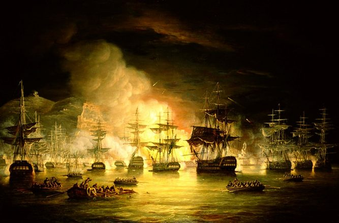 A painting of ships being attacked at night.