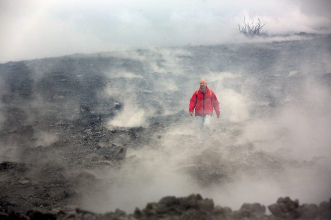 A volcanologist on site.