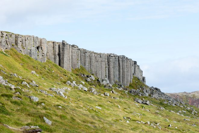 The hexagonal cliffs of Gerduberg on the Snaefellsnes Peninsula.