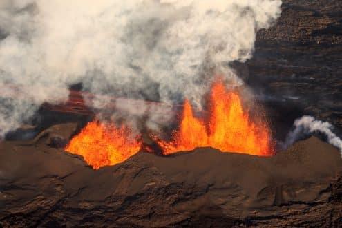 Une éruption volcanique en Islande.