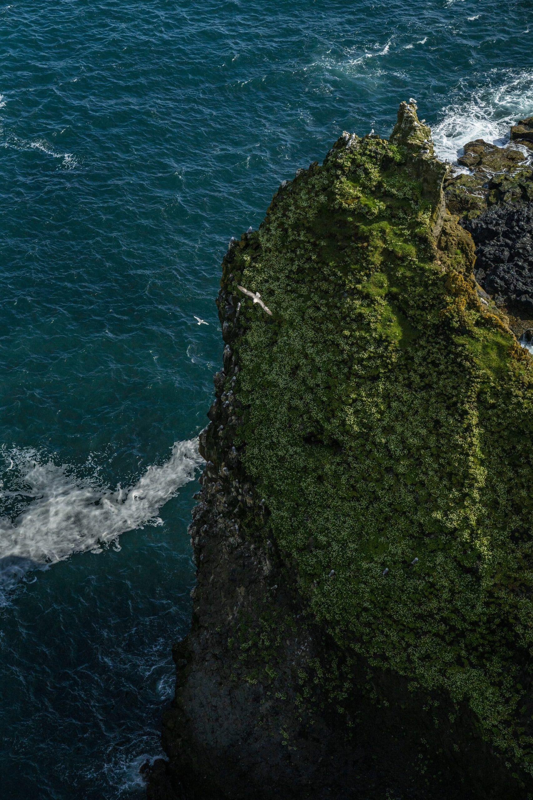 Vue aérienne des formations rocheuses de Londrangar sur la péninsule de Snaefellsnes.