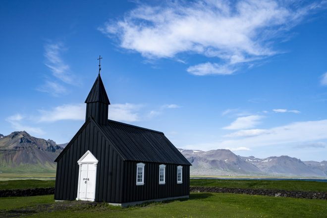 The jet-black church of Budarkirkja on the Snaefellsnes Peninsula.