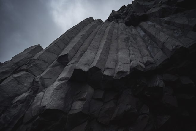 A close-up image of the hexagonal-shaped cliffs of Gerduberg on the Snaefellsnes Peninsula.