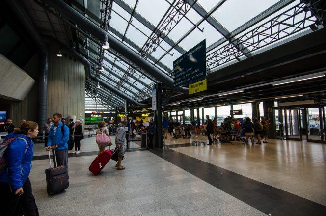 Arriving passengers at Keflavík International Airptort in Iceland.
