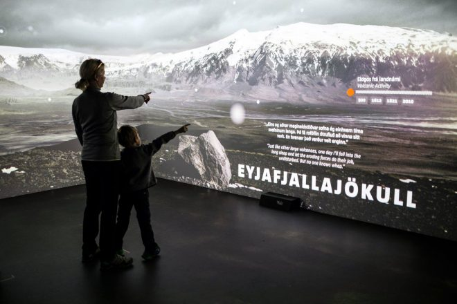 People visiting the LAVACentre in Iceland