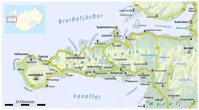 Une carte de la péninsule de Snaefellsnes.