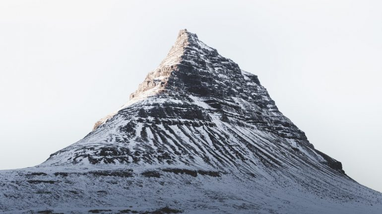 Snow covering Mt. Kirkjufell on the Snaefellsnes Peninsula.