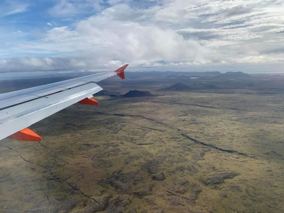 The view from an airplane flying over Iceland