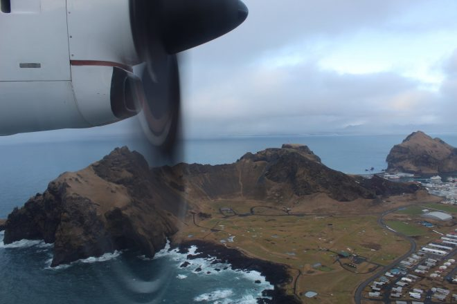 A view of the Westman Islands from an airplane.