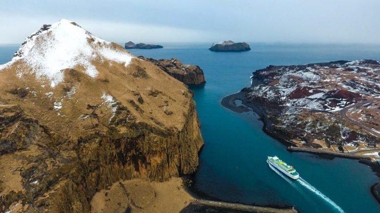 Herjólfur ferry sailing between islands in South Iceland.